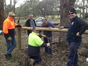 Steve Joblin and members of the Flowerdale Men's Shed