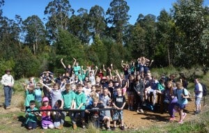 Kinglake Primary School students planting day at the Wilderness Trail Reserve.